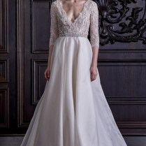 Monique Lhuillier Spring 2016 Sheer Lace Ball Gown Wedding Dress
