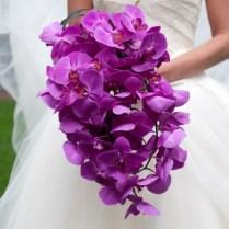 Monochromatic Wedding Flowers Bridal Bouquet Magenta Purple Orchid
