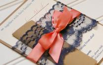 Navy And Coral Wedding Invitations Lace Invitation Rustic