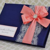 Navy Blue And Coral Wedding Guest Book Lace Custom Made In Your