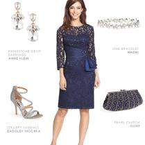 Navy Blue Lace Cocktail Dress