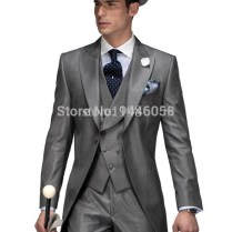 New Arrival Formal Men Tailcoats Grey Wedding Suits For Men Peaked