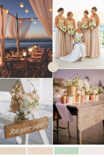 Nude Champagne And Pale Green Beach Wedding Color Inspiration