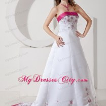 Pink And White Wedding Gown Cheap Price A Line Sexy V Back Beaded