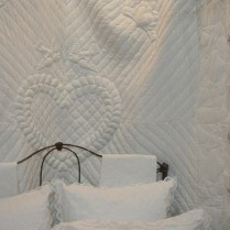 Pure White Wedding Quilt Trapunto Hearts, Doves & Claddagh Rings
