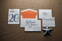 Real Wedding Stephanie And John, Navy And Coral Letterpress
