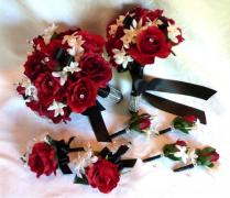 Red Rose Bouquet Red White Black Wedding Bouquet And Boutonniere