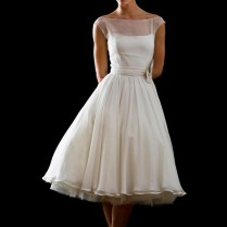 Retro Modest 50s 60s Short Tea Length Wedding Dress