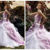 Romantic Ball Gown 2015 Wedding Dresses Purple White Tulle Lace