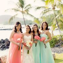 Romantic, Rustic Coral & Seafoam Green Beach Wedding {bellaeva