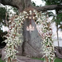Rustic Dry Wood Branches And White Flowers Wedding Arch