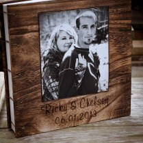 Rustic Photo Wood Cover Wedding Guest Book And Rustic Pen Set