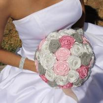Rustic Wedding Bouquet, Light Pink, Rose, Ivory, & Light Grey