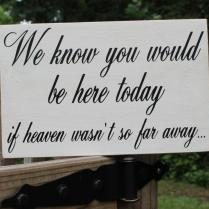 Rustic Wedding Sign Memorial We Know You Would Be Here Today If