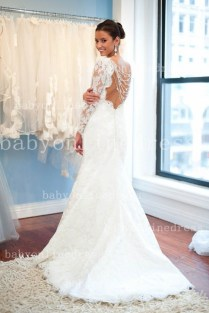 Sexy Wedding Dresses Sheer Crew Neckline Applique Beads Lace Tulle