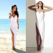 Sexy White Thigh High Slits Wedding Dresses Sheath Spaghetti Strap