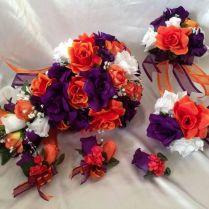Silk Rose Purple Orange White Wedding Bridal Bouquet Cascade
