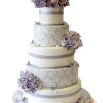 Silver And White Damask Wedding Cake » Wedding Cakes