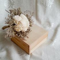 Small Cream Rustic Wedding Bouquet Ivory Flowers, Dried Limonium
