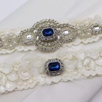 Something Blue Wedding Garter Set , Rhinestone And Crystal Garter