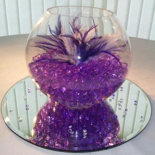 Stylish Purple Centerpieces For Wedding Tables
