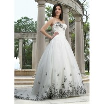 Sweetheart Strapless White Wedding Gown Dress With Black Appliques