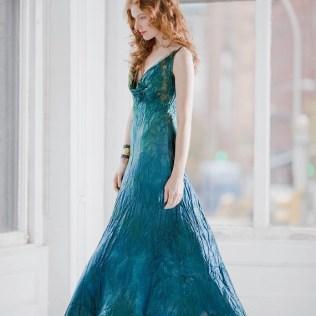 Teal Blue Wedding Dress And Crinoline Boho Beach Bridal Gown