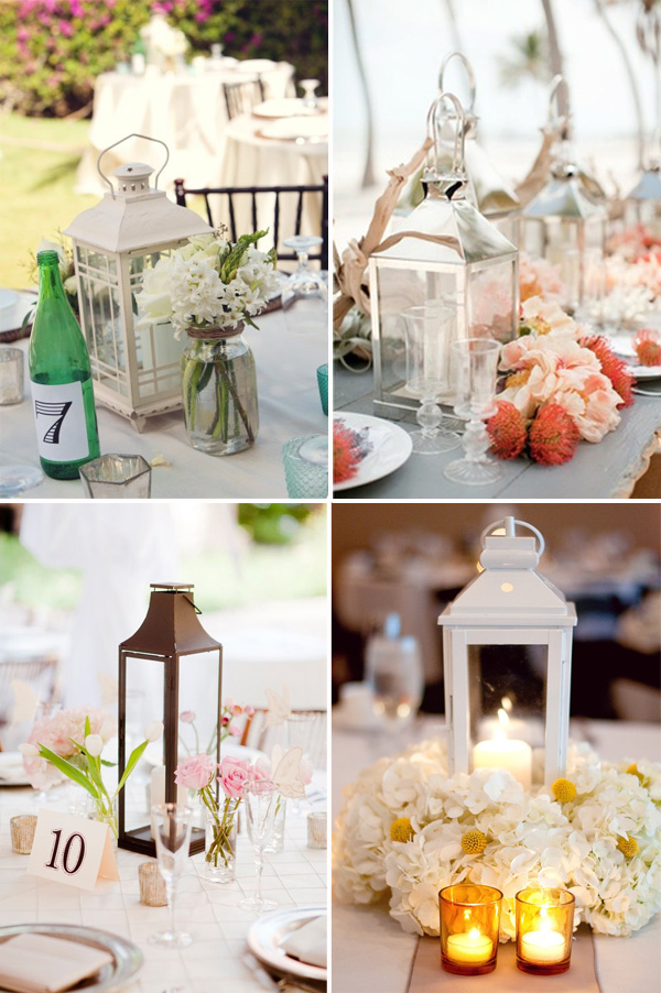 Silver Lantern Wedding Centerpieces