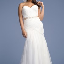 Trumpet Fit And Flare Strapless Chiffon Plus Size Wedding Dress