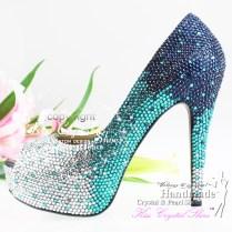 Turquoise Heels For Wedding Handmade Aqua Blue Turquoise Full