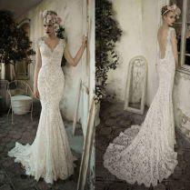 Twvc Whiteivory Open Back Lace Wedding Dress