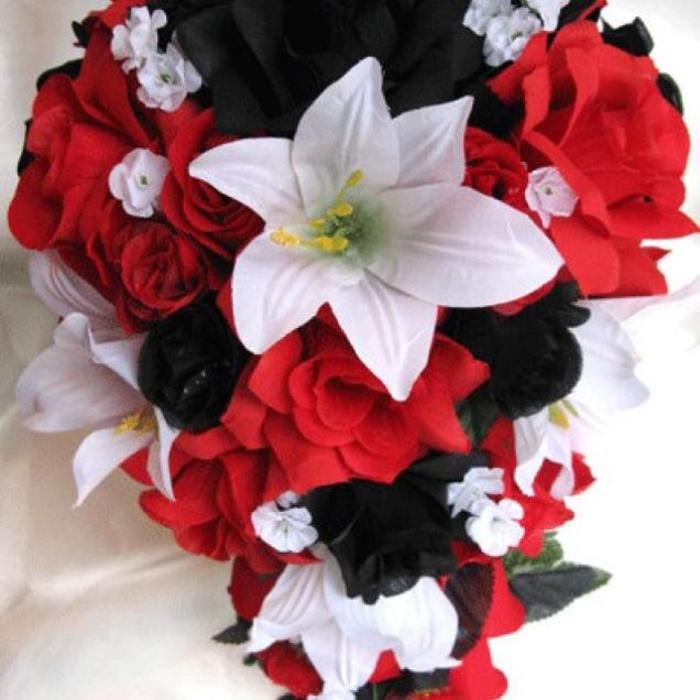 Wedding Bouquet Bridal Silk Flowers Cascade Black Red White Lily