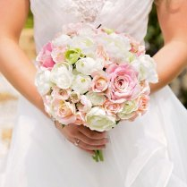 Wedding Bouquet, Bride Bouquet, Peach, Pink, Ivory And Green