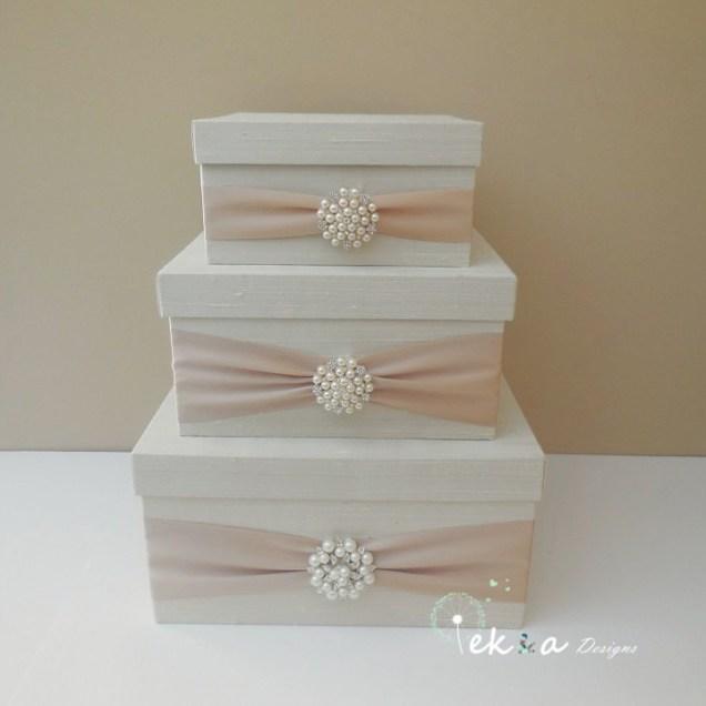 Wedding Card Box Ivory, White Lace, Yellow Flower & Gold Single