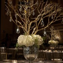 Wedding Centerpiece In Mercury Glass With White Hydrangea And Gold