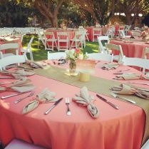 What A Beautiful Coral And Jute Burlap Wedding Reception Set Up