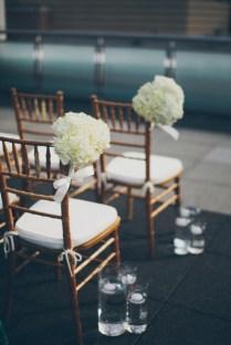 White Flower Bouquets Ceremony Chair Decor