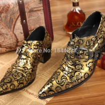 Wholesale New Purple Stars Embossed Men Shoes Leather Party Mens