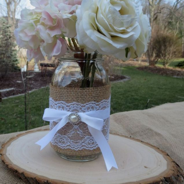 Wooden Flowers With Mason Jars