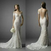 2015 Fitted Lace Wedding Dresses Sheer High Neck Off The Shoulder