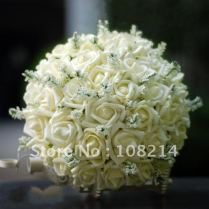 36 Ivory Rose Bridal Bouquets For Wedding Party With White Little
