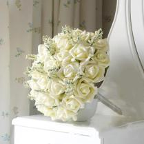 36 Ivory Rose Bridal Bouquets For Wedding Party,pure Color With