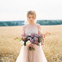 A Blush Wedding Gown For A Dreamy Autumn Wedding Inspiration Shoot