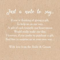Calligraphy Wedding Gift Wish Card From £0 40 Each