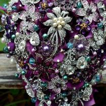 Cascading Purple And Teal Wedding Bouquet