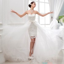 Chic Two In One Strapless Sweetheart Flare Tulle Over Lace Wedding