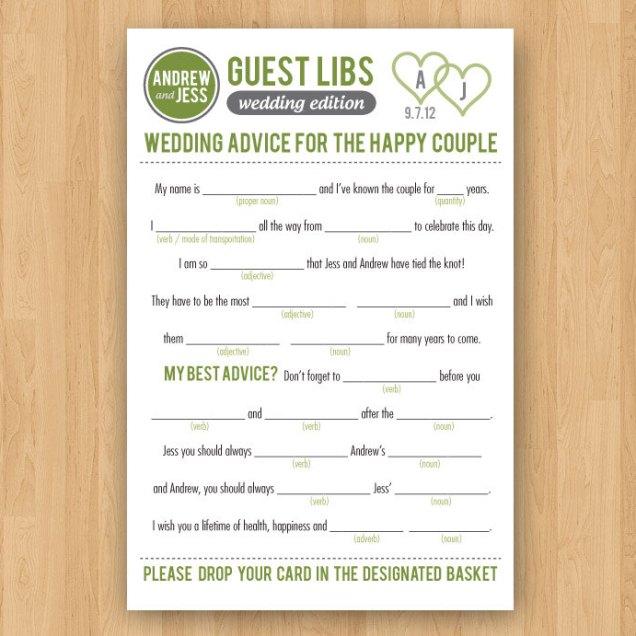 Diy Printable Wedding Mad Libs Guestbook Inkddesignstudio