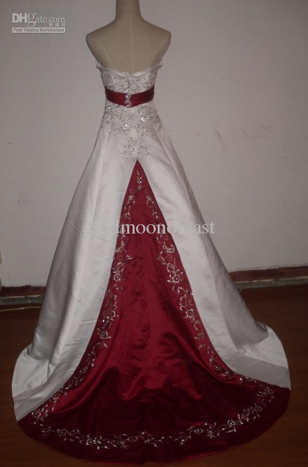 Burgundy And White Wedding Dress