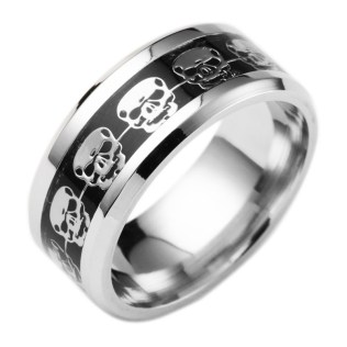 Gold Blue Carbon Fiber Stainless Steel Skull Ring Unique Mens