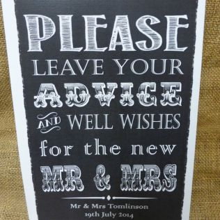 Guest Book Sign A4 Vintage Chalkboard Style Personalised Wedding